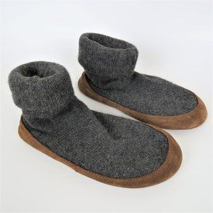 L.L. Bean Charcoal Gray Knit Slipper Socks Size Sm